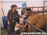 Asian female gives a very nice rimjob for a farm animal - picture 4