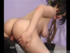 Brunette with saggy tits and hairy cunt bangs with black dog