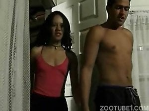 Skinny young brunette have sex with a black doggy