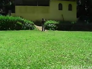 Young and innocent brunette sucks a horse snake