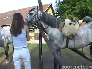 Angelic horse lover holds a giant snake of a stallion