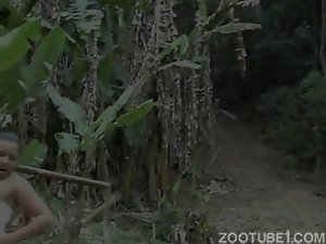 Sexy big-boobed rider bangs with horse in the forest