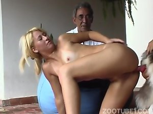 Elegant cougar blonde is trying hardcore anal sex with a husky