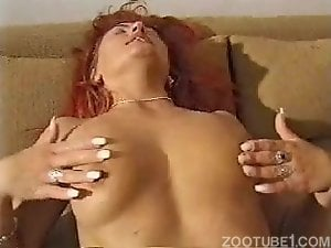 Brutal dog with big dong drills a hot-shaped redhead