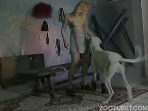 Skinny slut sucks a meaty dog cock and gets pounded as she love
