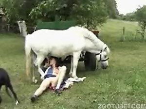 Sexy white pony got sucked by a redhead zoophile