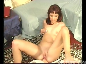 Skinny girl zoophile sucks a big dog dick
