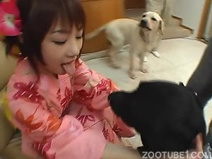 Asian girl's dog kiss